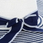 Blue / White Stripes Pattern Straw Sunrise tressé - Blanc + Bleu