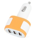 3-USB Car Power Charger for Smartphone / Laptop - White + Orange