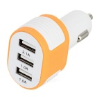 3-USB Car Power Charger voor Smartphone-Wit + Oranje