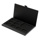 Portable Aluminum 8 TF + 1 SD Memory Cards Storage Box Case - Black