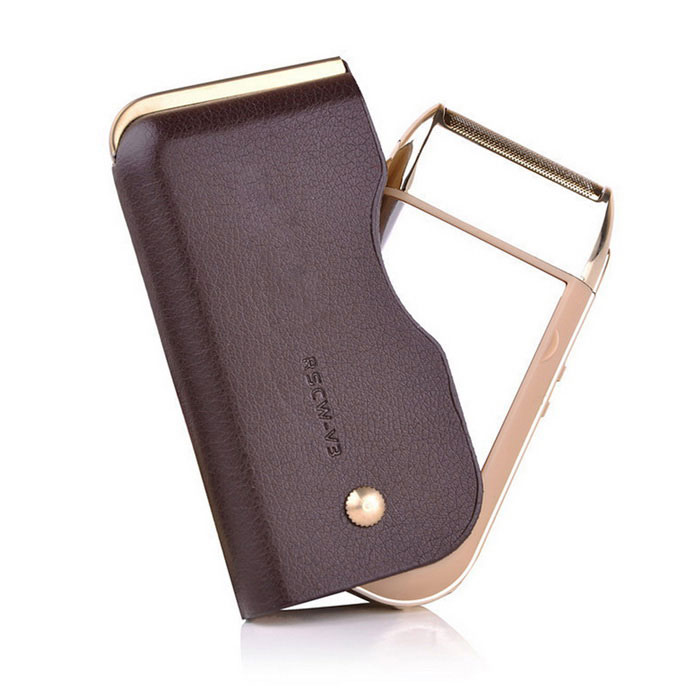 Reciprocating Single Heads Rechargeable Razor w/ Leather Case - Brown
