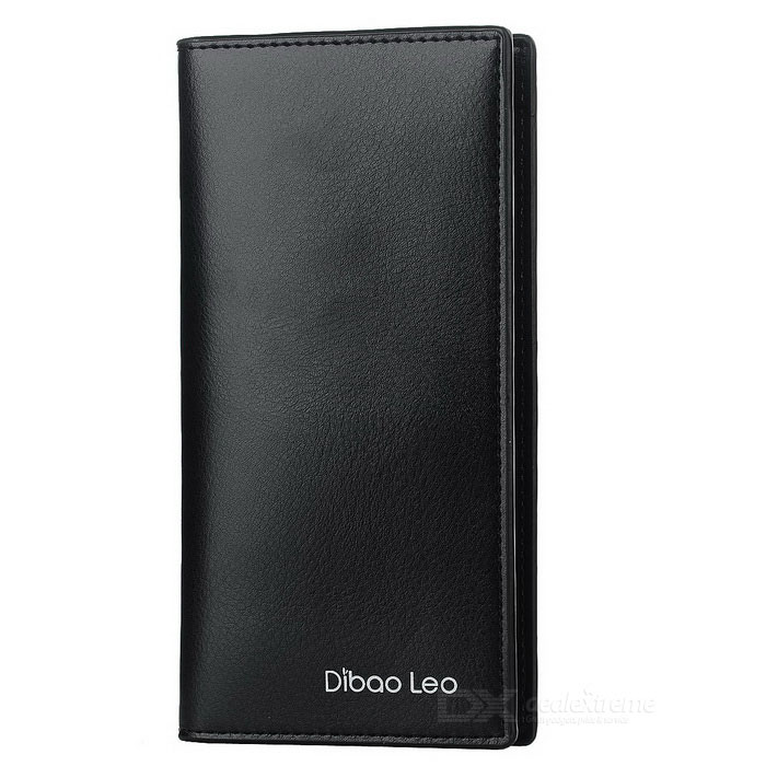 DBLO Men's Ultra-thin Long PU Leather Wallet w/ Card Slots - Black