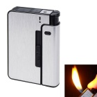 Automatic 10 Sticks Cigarettes Case & Lighter Creative Gift - Silver