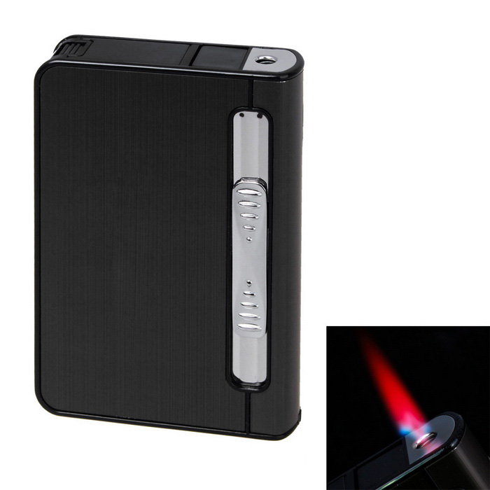 Automatic 12 Sticks Cigarettes Case & Lighter Creative Gift - Black