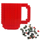 Non-Toxic Plastic DIY Creative Building Block Puzzle Mug - Red