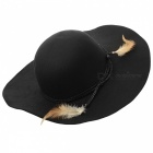 Women's Retro Anti-UV Wool Felt Wide Brim Beach Hat - Black