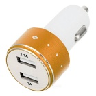 2.1A / 1A Dual USB Car Power Charger - White + Brown