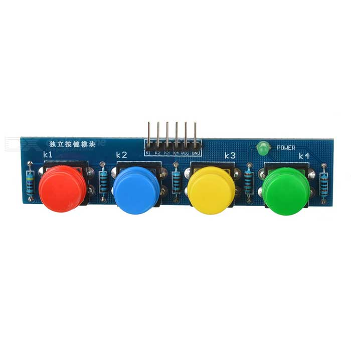4-Key Button Module Sensor External Keyboard Module for Arduino - BlueSensors<br>Form  ColorBlueModel-Quantity1 setMaterialFR4ApplicationArduino scientific researchWorking Voltage   3~6 VEnglish Manual / SpecNoDownload Link   NoPacking List1 x Module<br>