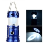 Waterproof Solar 6-LED White Light Tent Lamp / Flashlight - Blue