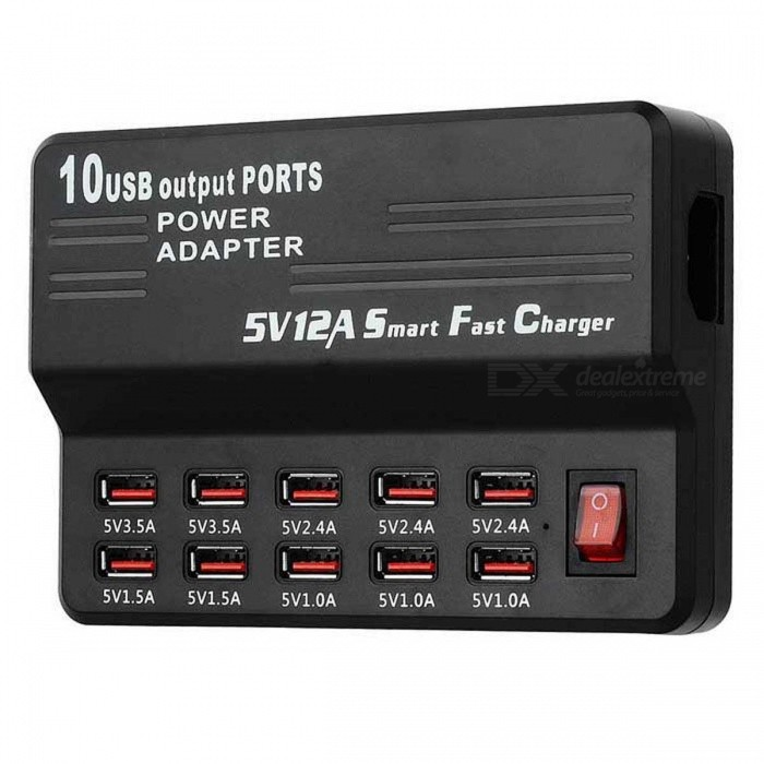 5V 12A 10-Port USB 2.0 Smart Fast Charger - Black (100~240V / EU Plug)USB Hubs &amp; Switches<br>Form ColorBlackQuantity1 DX.PCM.Model.AttributeModel.UnitMaterialABSShade Of ColorBlackIndicator LightNoPort Number10Spacing0.7cmCurrent Output1A / 1.5A / 2.4A / 3.5AWith Switch ControlYesInterfaceUSB 2.0Transmission Rate480 DX.PCM.Model.AttributeModel.UnitPowered ByAC ChargerSupports SystemWin xp,Win 2000,Win vista,Win7 32,Win7 64,Win8 32,Win8 64,MAC OS X,IOS,Android 2.x,Android 4.xPacking List1 x Charger1 x EU plug power cable (Input: 100~240V / 100+/-2cm-cable)<br>