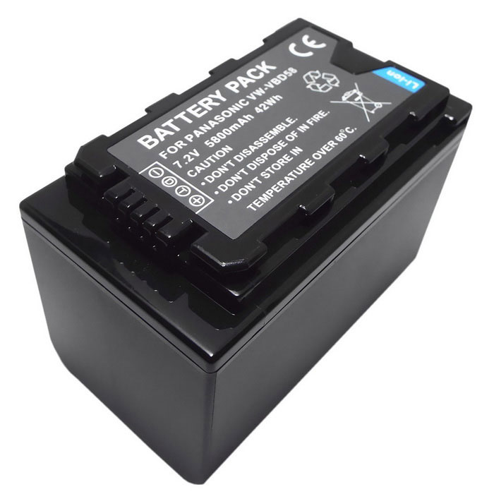 7.2V 5500mAh Battery Compatible w/ VW-VBD58 for Panasonic - Black