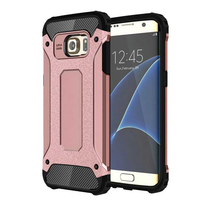 Protective Back Case for Samsung Galaxy S7 Edge - Black + Rose Gold