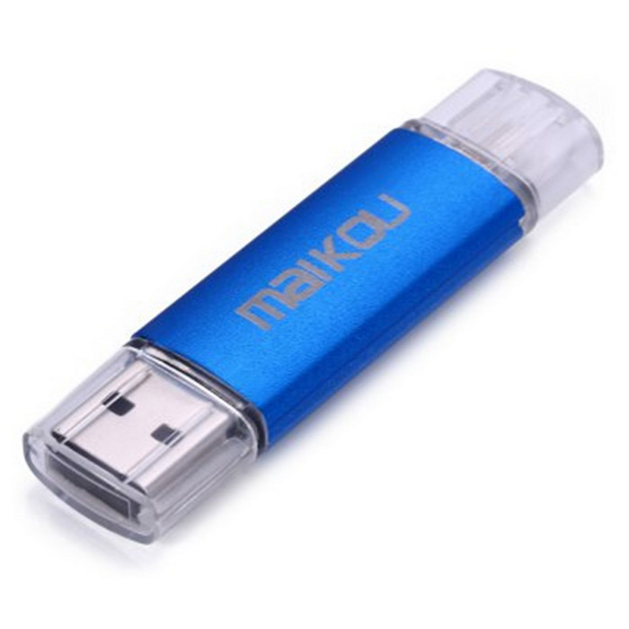 MAIKOU Micro USB OTG USB 2.0 Flash Drive - Blue (64GB)64GB USB Flash Drives<br>Form ColorBlueCapacity64GBModel-MaterialAluminum alloy + plasticQuantity1 DX.PCM.Model.AttributeModel.UnitShade Of ColorBlueMax Read Speed16MB/sMax Write Speed10MB/sUSBUSB 2.0With IndicatorYesPacking List1 x USB 2.0 flash drive<br>