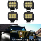 18W 6-LED Spot White 1800lm Car Work Light Bar - Black (4PCS)