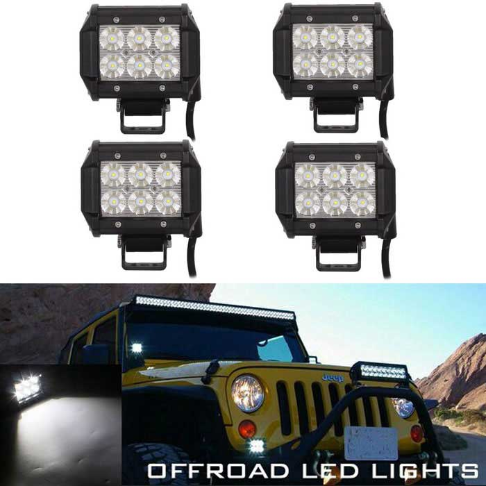 FLOOD 18W 1800lm 6-LED White Light Car Working Lamp - Black (4PCS)Off-Road Lights<br>Color BINWhite 4PCSModel-Quantity4 DX.PCM.Model.AttributeModel.UnitMaterialAluminumForm ColorBlackEmitter TypeLEDChip BrandOthers,-Chip Type-Total Emitters6Power18WColor Temperature6000 DX.PCM.Model.AttributeModel.UnitTheoretical Lumens1800 DX.PCM.Model.AttributeModel.UnitActual Lumens1530 DX.PCM.Model.AttributeModel.UnitRate VoltageDC 10~30VWaterproof FunctionYesConnector TypeOthers,WiredApplicationHeadlamp,Clearance lamp,Roof lightCertificationCE/RoHS/IP67Packing List4 x Work lamp (40cm cable)4 x Stents20 x Screws4 x Nuts20 x Washers<br>