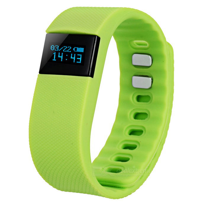 Smart Silicone Bluetooth Bracelet w/ Health Monitoring + More - Green