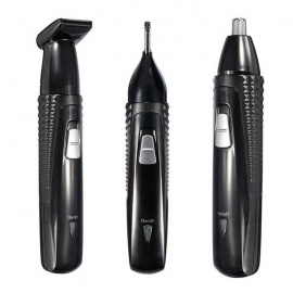 KM-309 3-in-1 Electric Nose & Ear Hair Trimmer & Shaver - Black