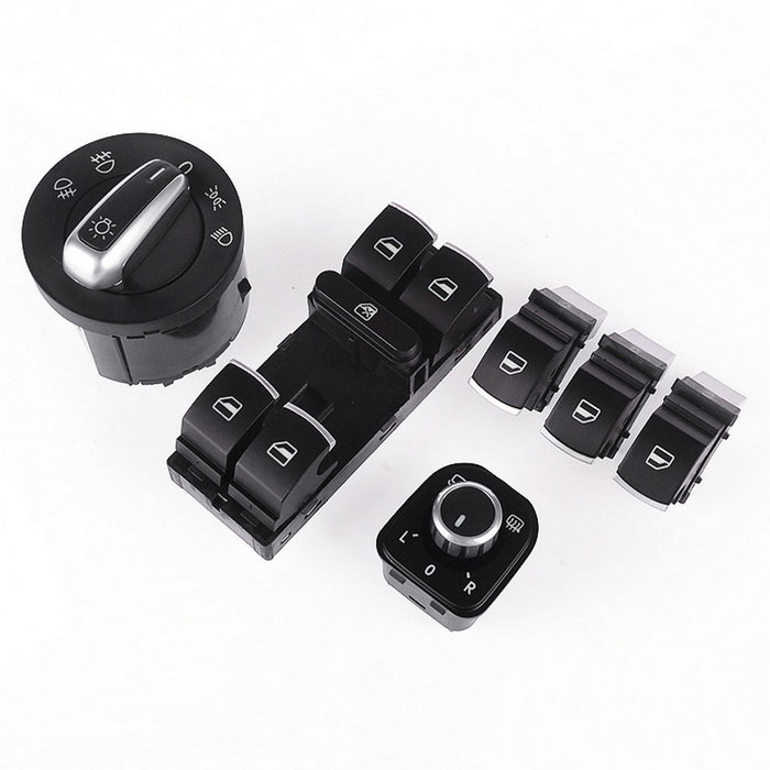 Iztoss Headlight Window Mirror Switches for VW Passat B6 Jetta Golf MK5 MK6 CC TIGUAN - Black (6PCS)