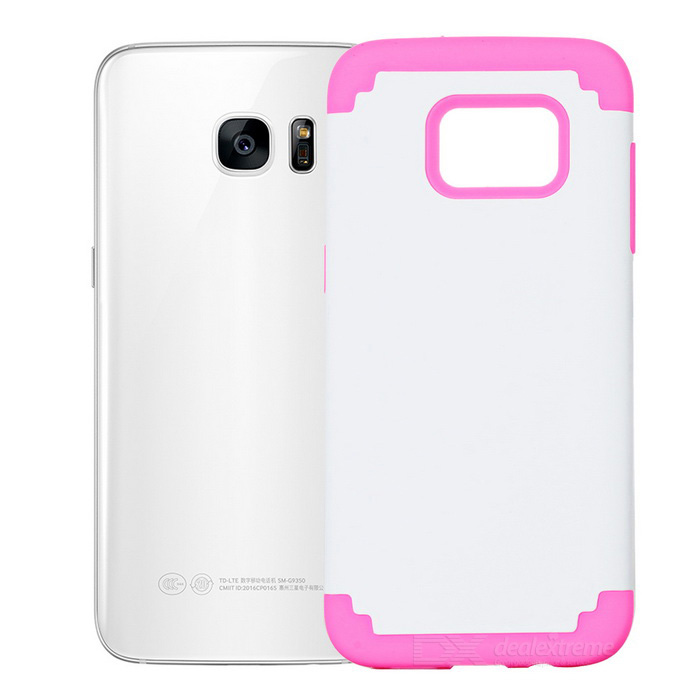 TPU + Silicone Case for Samsung Galaxy S7 Edge - White + Deep Pink