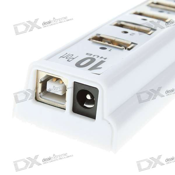 High Speed USB2.0/1.1/1.0 10-Port USB Hub (White)