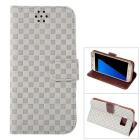 Gird Pattern PU Leather Wallet Case w/ Stand / Card Slot for Samsung Galaxy S7 - Grey