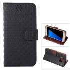 Gird Pattern PU Leather Wallet Case w/ Stand / Card Slot for Samsung Galaxy S7 - Black