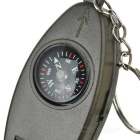 Survival Whistle w/ Compass, Magnifier, Thermometer - Army Green