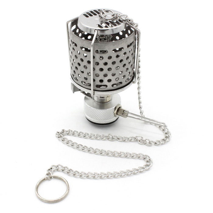 Sunfield Stainless Steel Gas Camping Lantern Warm White Light - Silver