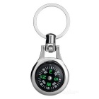 Outdoor Portable Flexible Zinc Alloy Compass Keychain - Silver + Black