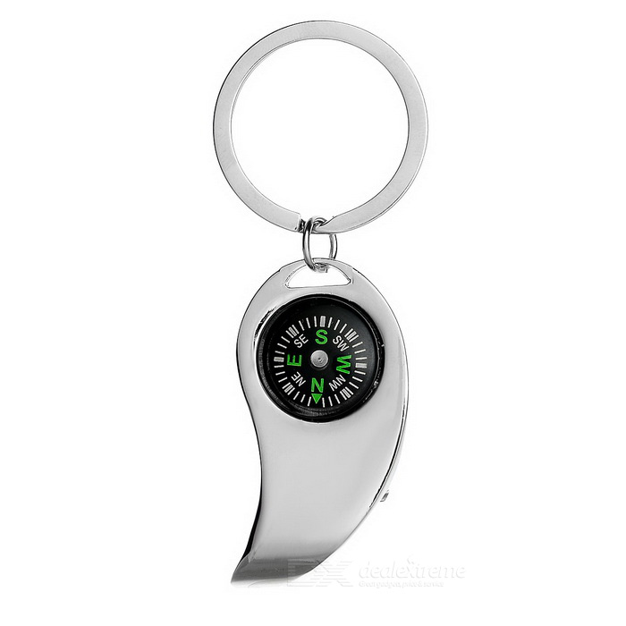 Outdoor Portable Compass Keychain w/ Bottle Opener - Silver + Black