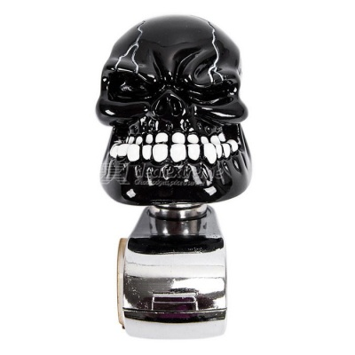 Skull Style Car Steering Wheel Spinner Knob Handle - Black