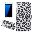 Leopard Pattern PU Case for Samsung Galaxy S7 G9300 - White + Black