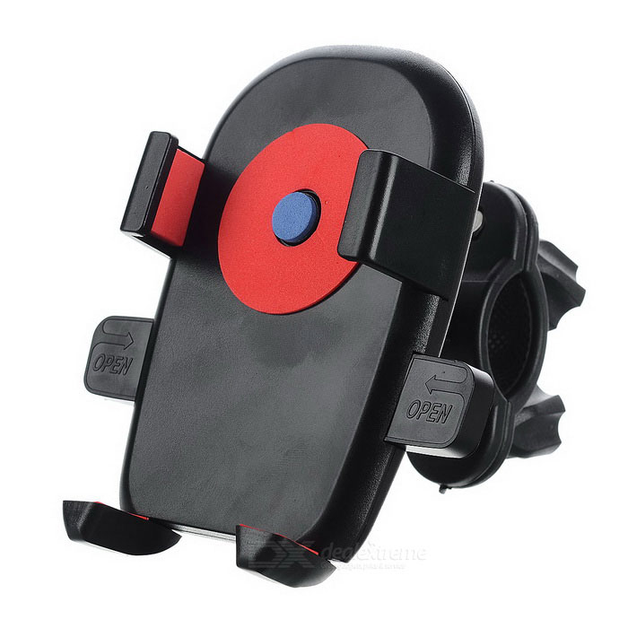 Plastic Bike Bicycle Handlebar Mount Holder Stand for Cell Phone / GPS - Black + Red