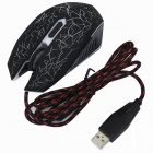 USB2.0 alimentato a 7 colori LED 6D mouse con cavo metallico per PC portatile - nero