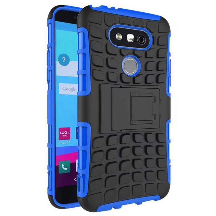Armour Style TPU Back Case w/ Stand for  LG G5 - Blue + Black