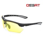 OSSAT 99150 UV400 Protection Cycling Sunglasses w/ Replacement Lenses - Black + Yellow