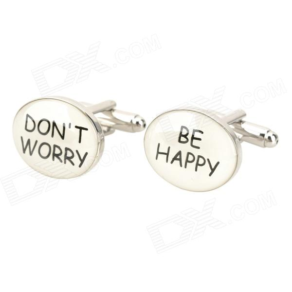 Don't Worry + Be Happy Pattern Cuff Links/Buttons (Pair)