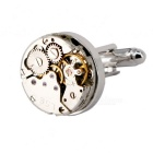 Men's Clock & Watch Movement Shape Cufflinks - Silver + Gold (Pair)