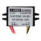 LY-KREE AC 12/24V to DC 5V 3A 15W Power Supply Converter - Black