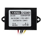 LY-KREE DC 12/24V to DC 24V 1A 24W Regulated Power Converter - Black