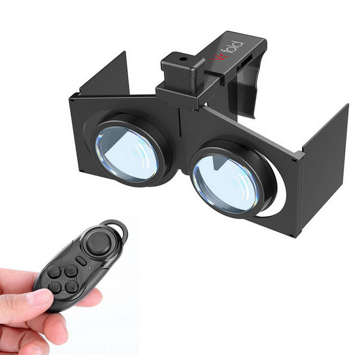 Virtual Reality 3D Glasses + BT Control for 4.0~6.0'' Phones - Black