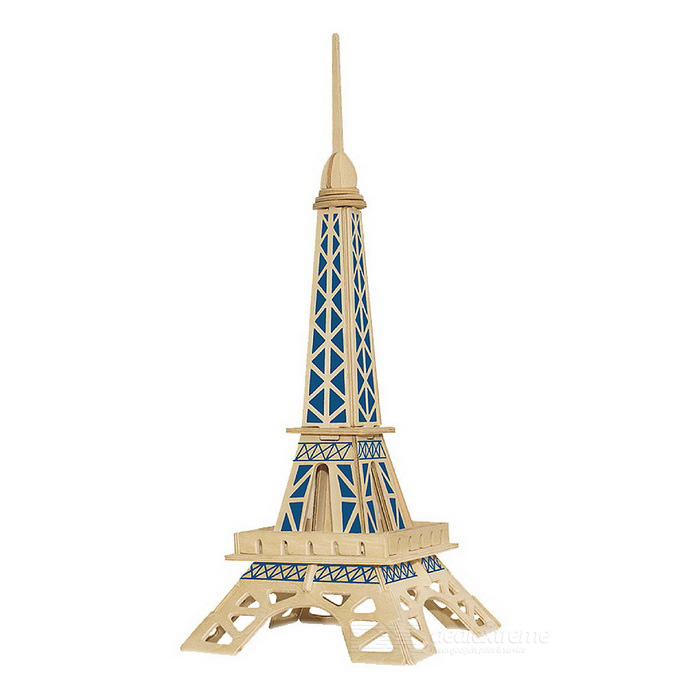 WP-029 DIY Assembly Eiffel Tower Model Toy - Wood Color + Blue