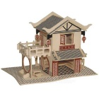 WP-160 DIY Assembly Tea House Model Toy - Wood Color + Red
