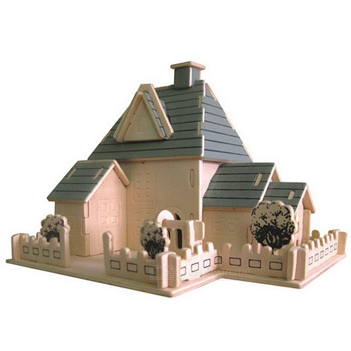 G-P168 DIY Assembly House Model Toy - Wood Color + Blue