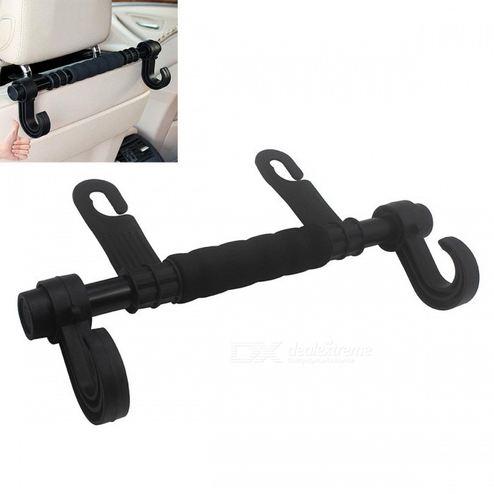 ZIQIAO Universal Auto Seat Back Headrest Luggage Bags Hanger - Black