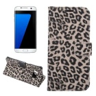 Leopard Pattern PU Case for Samsung Galaxy S7 G9300 - Brown + Black
