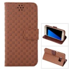 Gird Pattern PU Leather Wallet Case w/ Stand / Card Slot for Samsung Galaxy S7 - Coffee