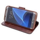 Wallet Case w/ Stand & Card Slots for Samsung Galaxy S7 G9300 - Black