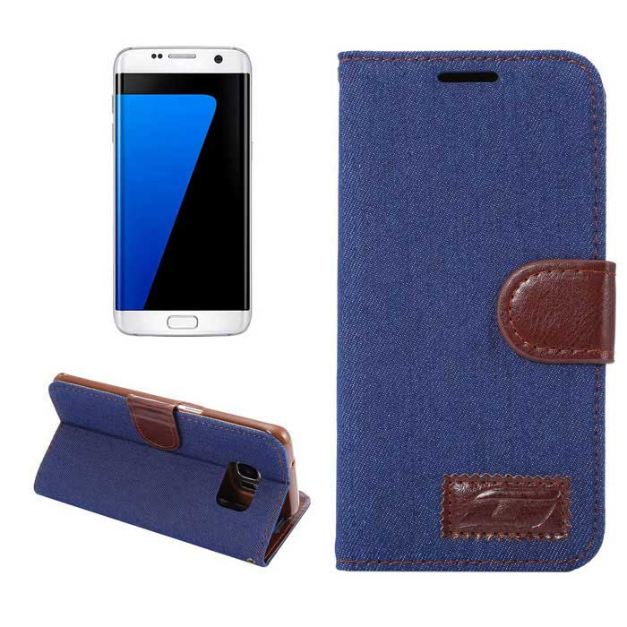 Wallet Case w/ Stand & Card Slots for Samsung Galaxy S7 G9300 - Blue
