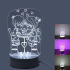 JIAWEN 3.5W 3D Illusion Creative Light Desk Lamp - White + Transparent